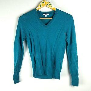 Uniqlo Womens Wool Sweater Sz S Teal Blue